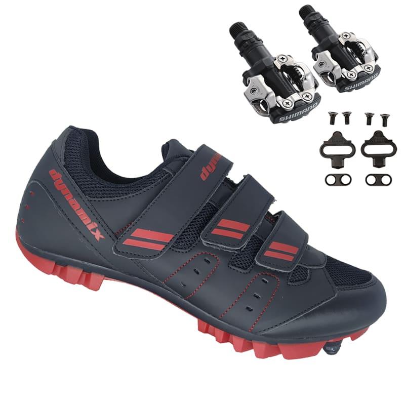 Sapatilha Mtb Ciclismo Dynamix Kanya Vermelha + Pedal Shimano M520
