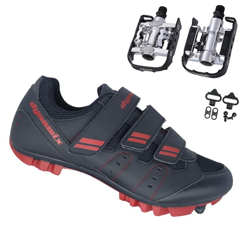 Sapatilha Mtb Ciclismo Dynamix Kanya Vermelha + Pedal Wellgo C2 Plataforma