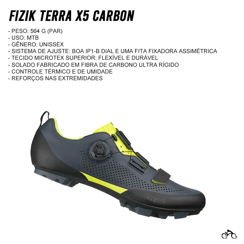 Sapatilha Mtb Ciclismo Fizik Terra X5 Carbon Amarela + Pedal Shimano M505