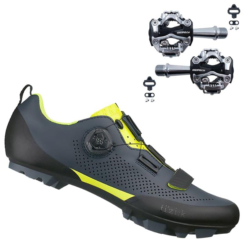 Sapatilha Mtb Ciclismo Fizik Terra X5 Carbon Amarela + Pedal Zeray ZP-108S