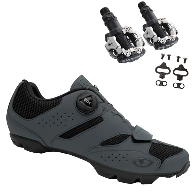 Sapatilha Mtb Ciclismo Giro Cylinder II Cinza + Pedal Shimano M520
