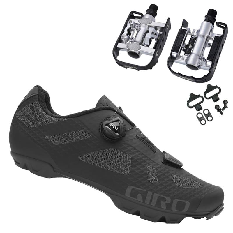 Sapatilha Mtb Ciclismo Giro Rincon Preta + Pedal Wellgo C2 Plataforma