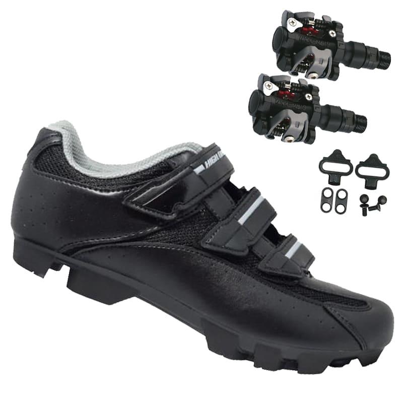 Sapatilha Mtb Ciclismo High One Cobok Preta + Pedal Wellgo M919