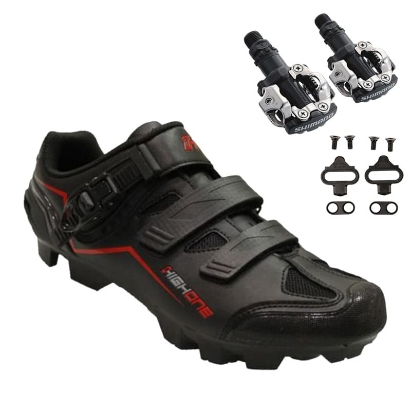 Sapatilha Mtb Ciclismo High One Feet Vermelha + Pedal Shimano M520
