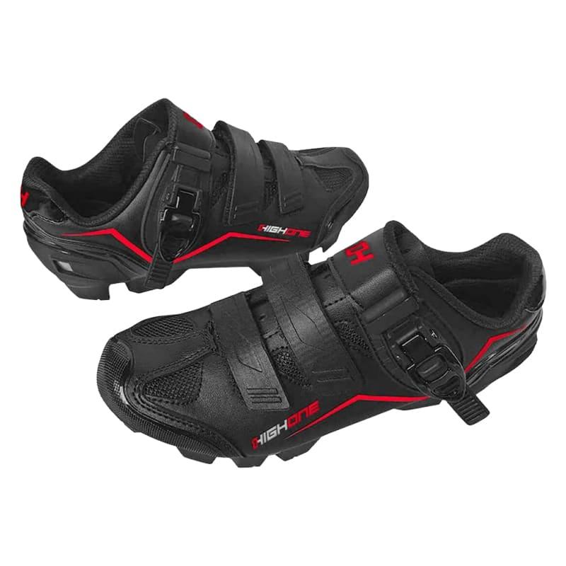 Sapatilha Mtb Ciclismo High One Feet Vermelha + Pedal Wellgo M919