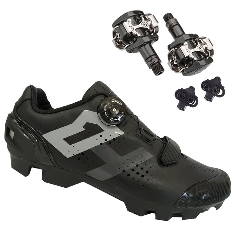 Sapatilha Mtb Ciclismo High One Lock Preta + Pedal Shimano M505