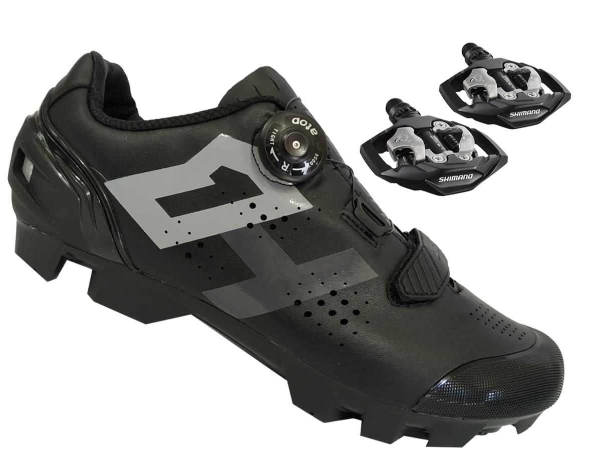 Sapatilha Mtb Ciclismo High One Lock Preta + Pedal Shimano M530