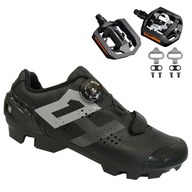 Sapatilha Mtb Ciclismo High One Lock Preta + Pedal Shimano T421