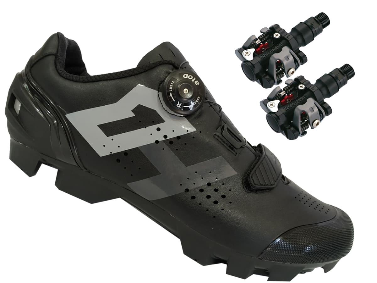 Sapatilha Mtb Ciclismo High One Lock Preta + Pedal Wellgo M919