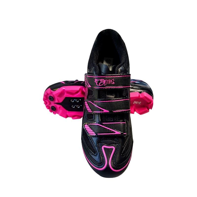 Sapatilha Mtb Ciclismo Jet Guardian Feminina Rosa + Pedal Wellgo C2 Plataforma