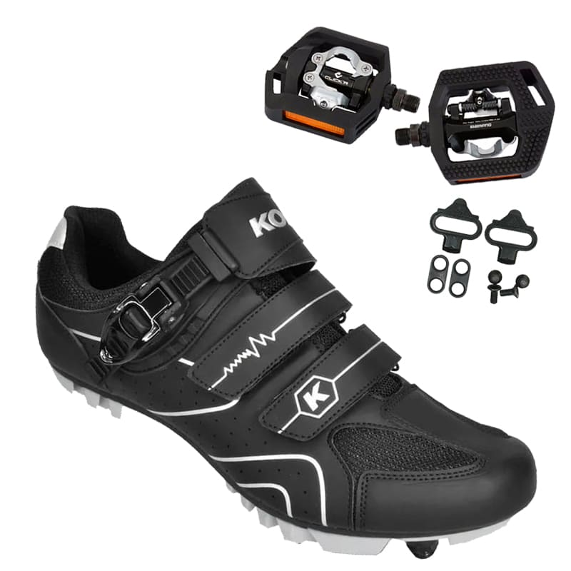 Sapatilha Mtb Ciclismo Kode Attack Preta + Pedal Shimano T421