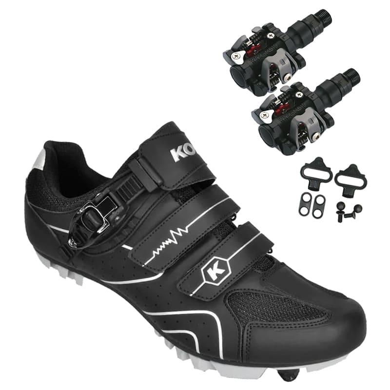 Sapatilha Mtb Ciclismo Kode Attack Preta + Pedal Wellgo M919