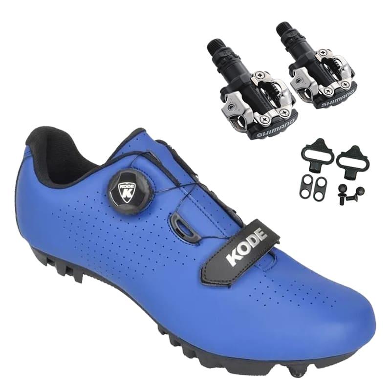Sapatilha Mtb Ciclismo Kode Enduro Azul + Pedal Shimano M520