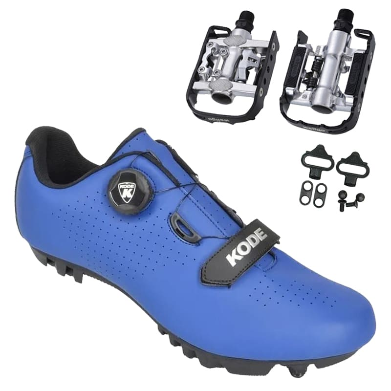 Sapatilha Mtb Ciclismo Kode Enduro Azul + Pedal Wellgo C2 Plataforma