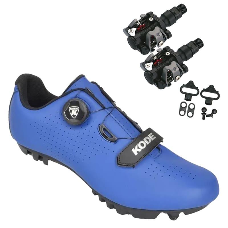 Sapatilha Mtb Ciclismo Kode Enduro Azul + Pedal Wellgo M919