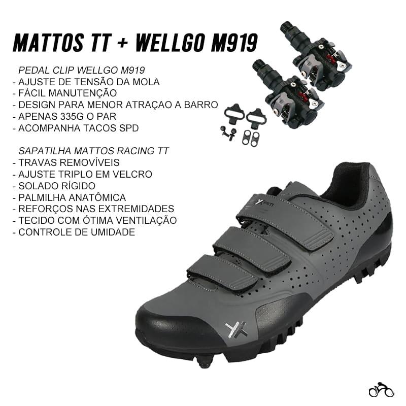 Sapatilha Mtb Ciclismo Mattos Tt II Cinza + Pedal Wellgo M919