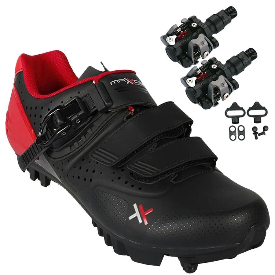 Sapatilha Mtb Ciclismo Mattos Ttr II Vermelha + Pedal Wellgo M919