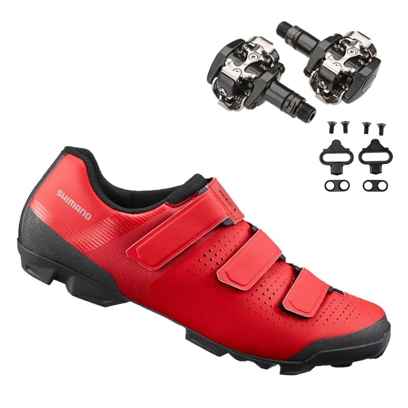 Sapatilha Mtb Ciclismo Shimano Xc100 Vermelha + Pedal Shimano M505