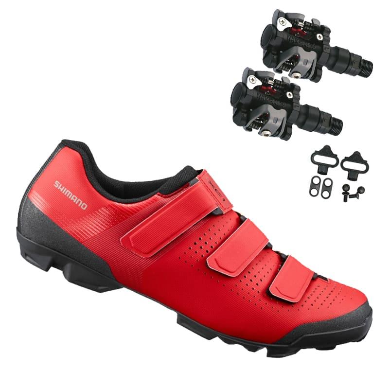 Sapatilha Mtb Ciclismo Shimano Xc100 Vermelha + Pedal Wellgo M919