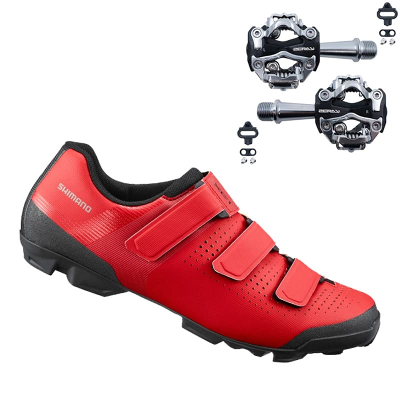 Sapatilha Mtb Ciclismo Shimano Xc100 Vermelha + Pedal Zeray ZP108S
