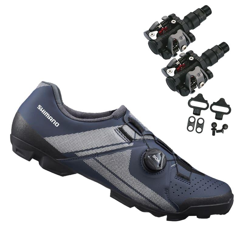 Sapatilha Mtb Ciclismo Shimano Xc300 Azul + Pedal Wellgo M919