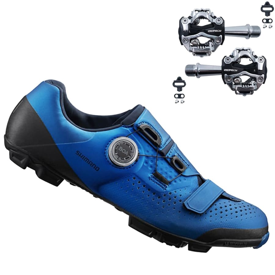 Sapatilha Mtb Ciclismo Shimano Xc501 Azul + Pedal Zeray ZP108S
