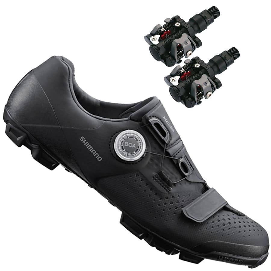 Sapatilha Mtb Ciclismo Shimano Xc501 Preta + Pedal Wellgo M919