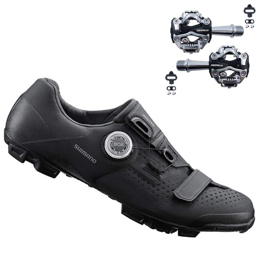 Sapatilha Mtb Ciclismo Shimano Xc501 Preta + Pedal Zeray Zp108s