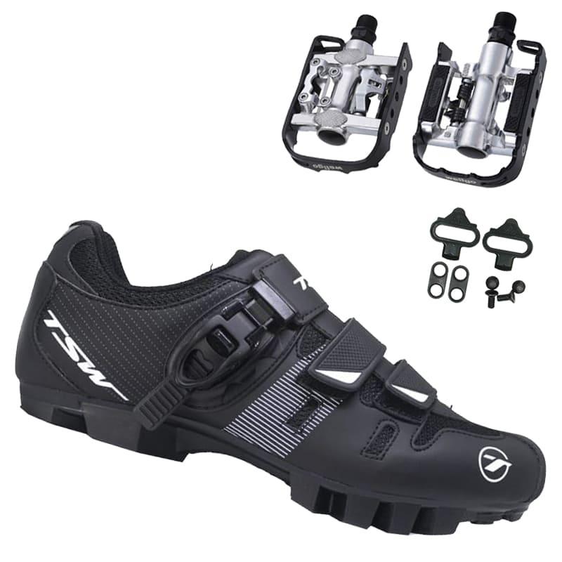 Sapatilha Mtb Ciclismo Tsw Cave II + Pedal Wellgo C2 Plataforma