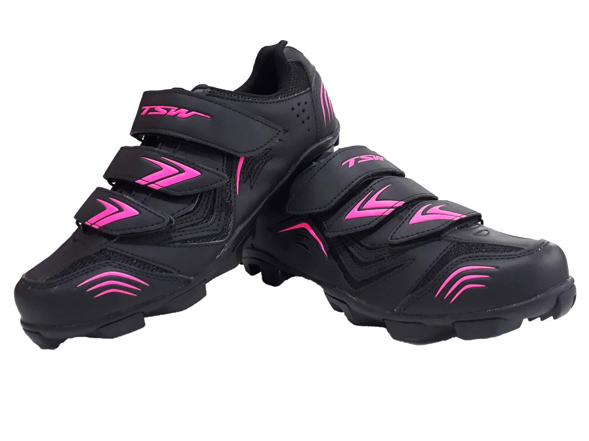 Sapatilha Mtb Ciclismo Tsw New Fit Feminina + Pedal Wellgo C2 Plataforma