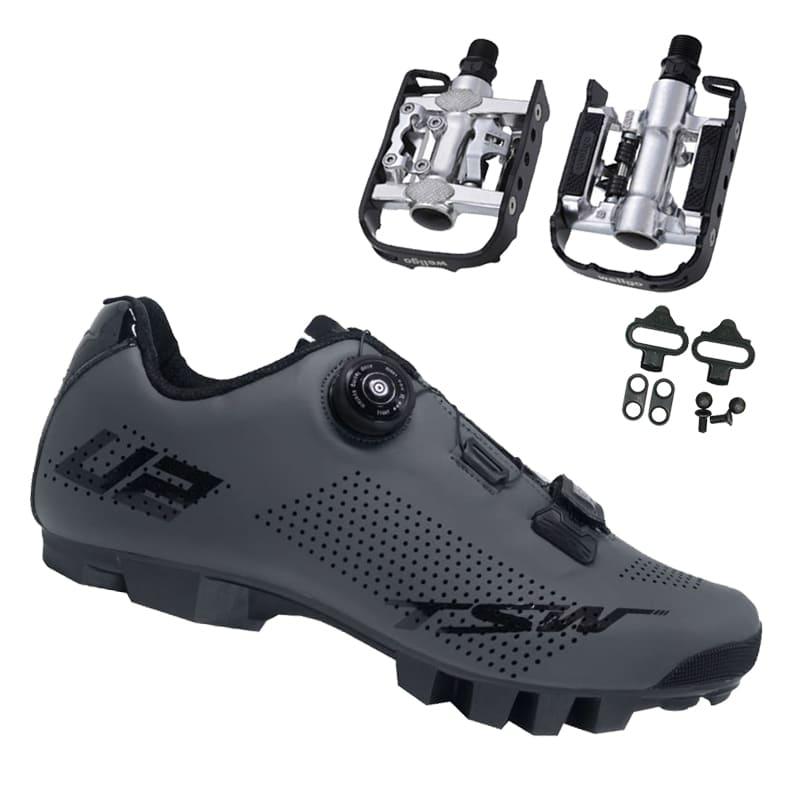 Sapatilha Mtb Ciclismo Tsw Smart II Cinza + Pedal Wellgo C2 Plataforma