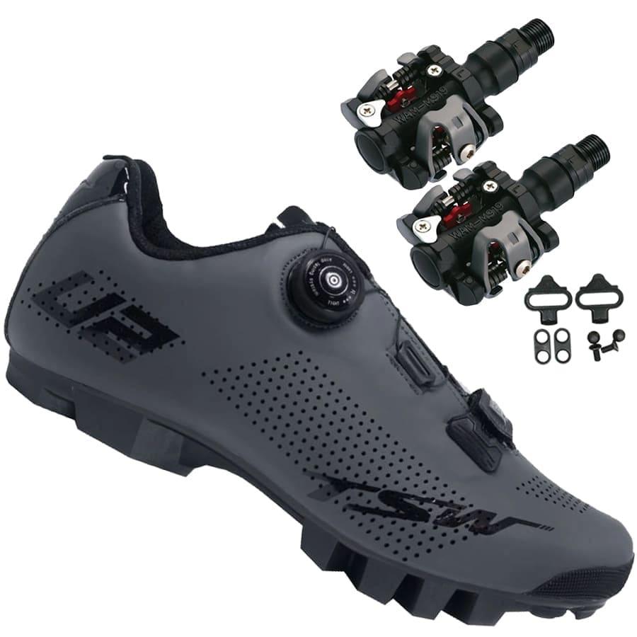 Sapatilha Mtb Ciclismo Tsw Smart II Cinza + Pedal Wellgo M919