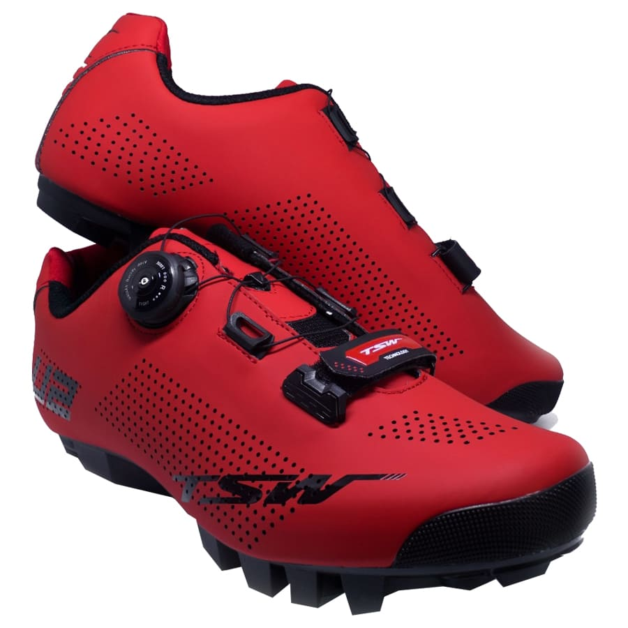 Sapatilha Mtb Ciclismo Tsw Smart II Vermelha + Pedal Shimano M520