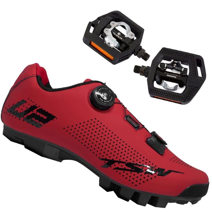 Sapatilha Mtb Ciclismo Tsw Smart II Vermelha + Pedal Shimano T421