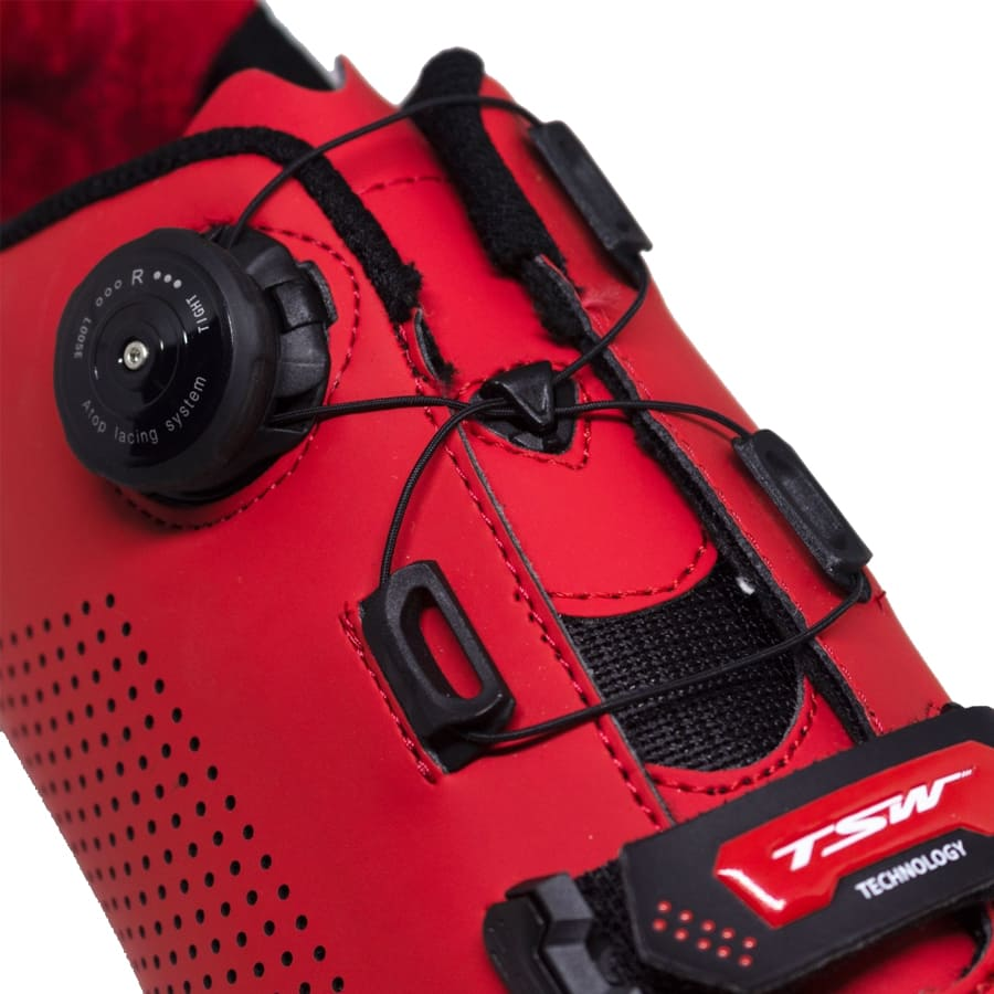 Sapatilha Mtb Ciclismo Tsw Smart II Vermelha + Pedal Wellgo M919