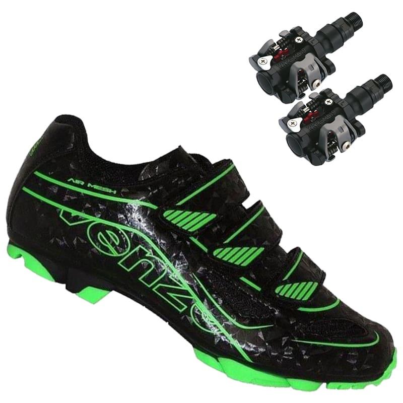 Sapatilha Mtb Ciclismo Venzo Evo Vsx Verde + Pedal Wellgo M919
