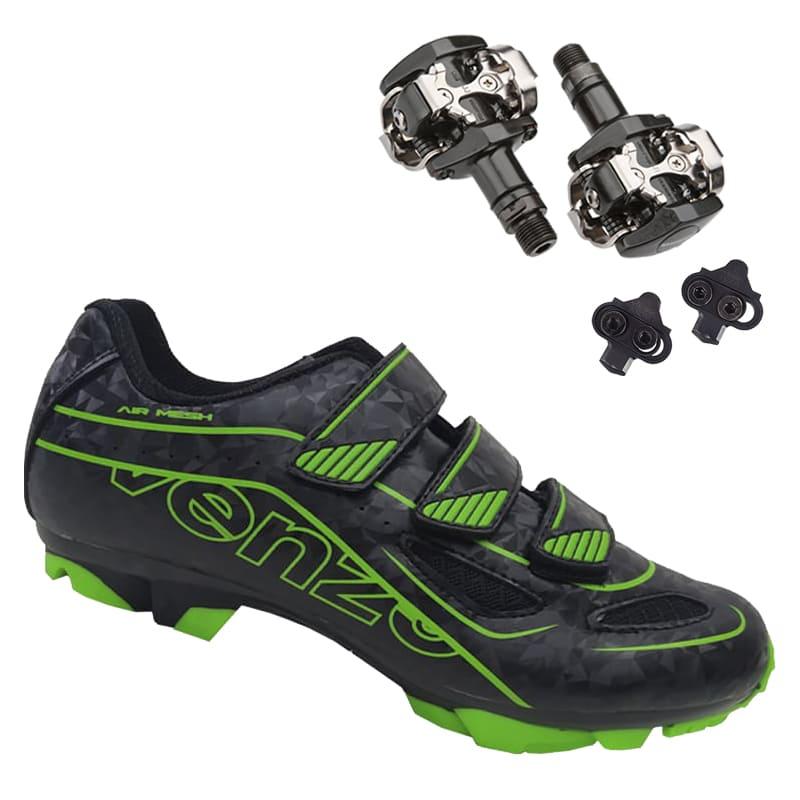 Sapatilha Mtb Ciclismo Venzo Evo Vsx Verde + Pedal Shimano M505