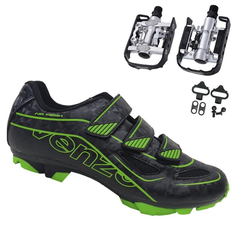 Sapatilha Mtb Ciclismo Venzo Evo Vsx Verde + Pedal Wellgo C2 Plataforma
