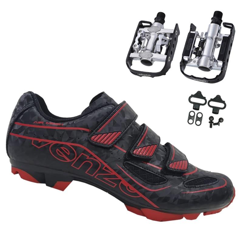 Sapatilha Mtb Ciclismo Venzo Evo Vsx Vermelha + Pedal Wellgo C2 Plataforma