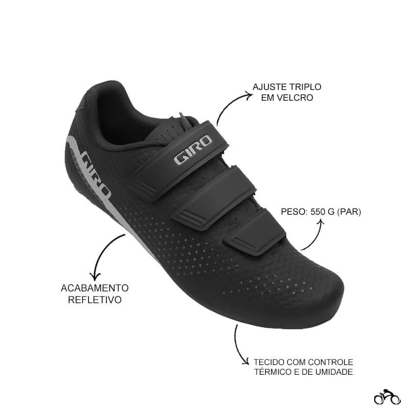 Sapatilha Speed Ciclismo Giro Stylus Preta + Pedal Wellgo R096B