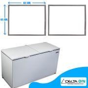 Gaxeta borracha freezer horizontal Metalfrio modelo  DA550 medida 61 x 82 cm 020107G304