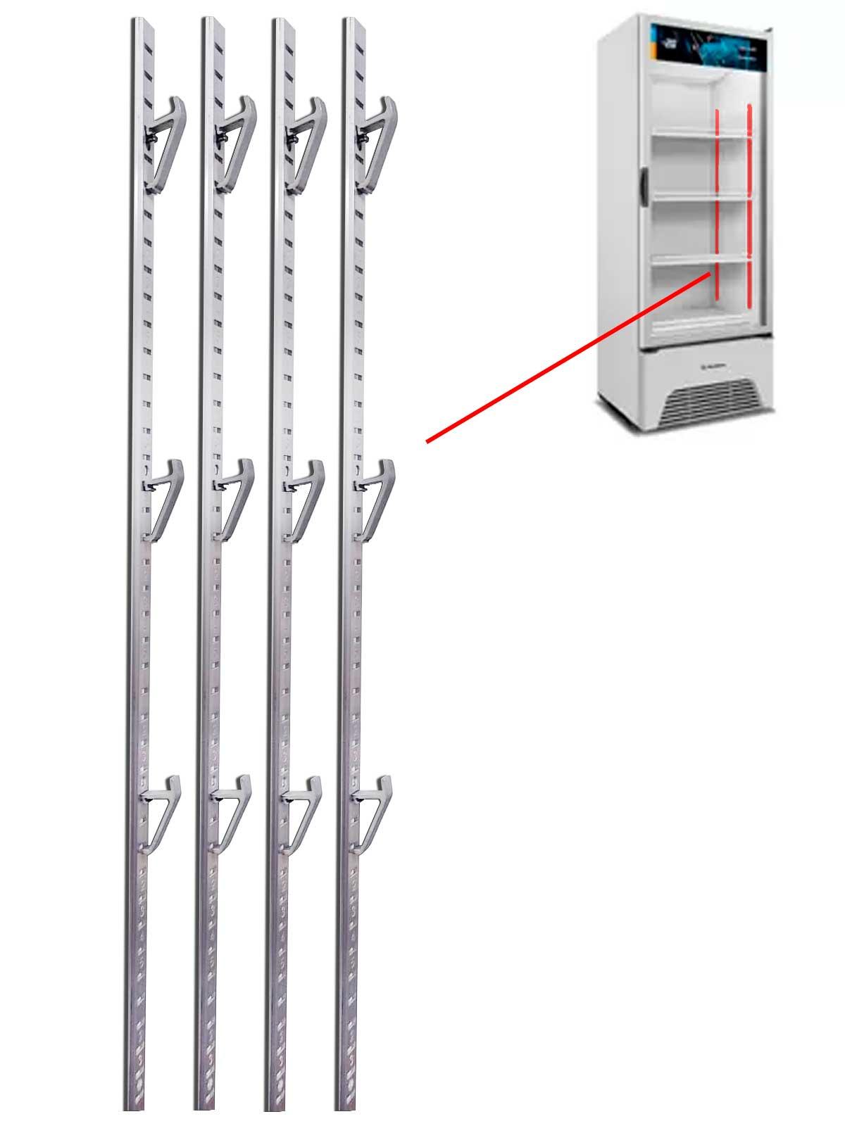 4 Cremalheira Trilho Para Suporte De Grade Metalfrio Gelopar 1,20 METRO  020119C203