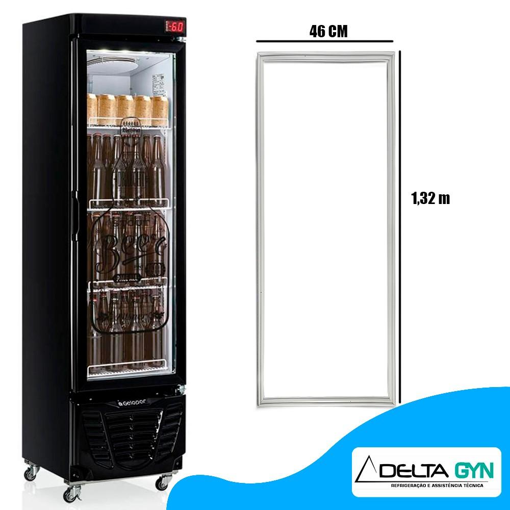 Gaxeta borracha geladeira cervejeira Gelopar  GRBA-230PVA porta de vidro 46 x 132 008353.02