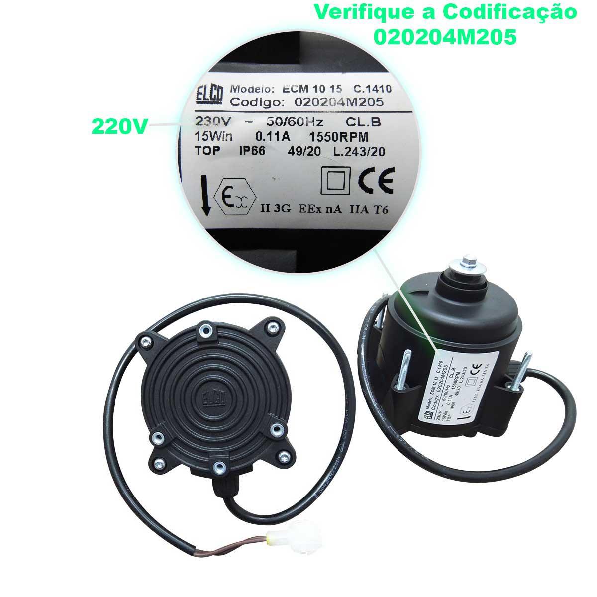 Micro Motor Elco  ECM 10-15 220V para equipamentos Metalfrio VN 25 50 VB 18 28 55 60 com conector selado