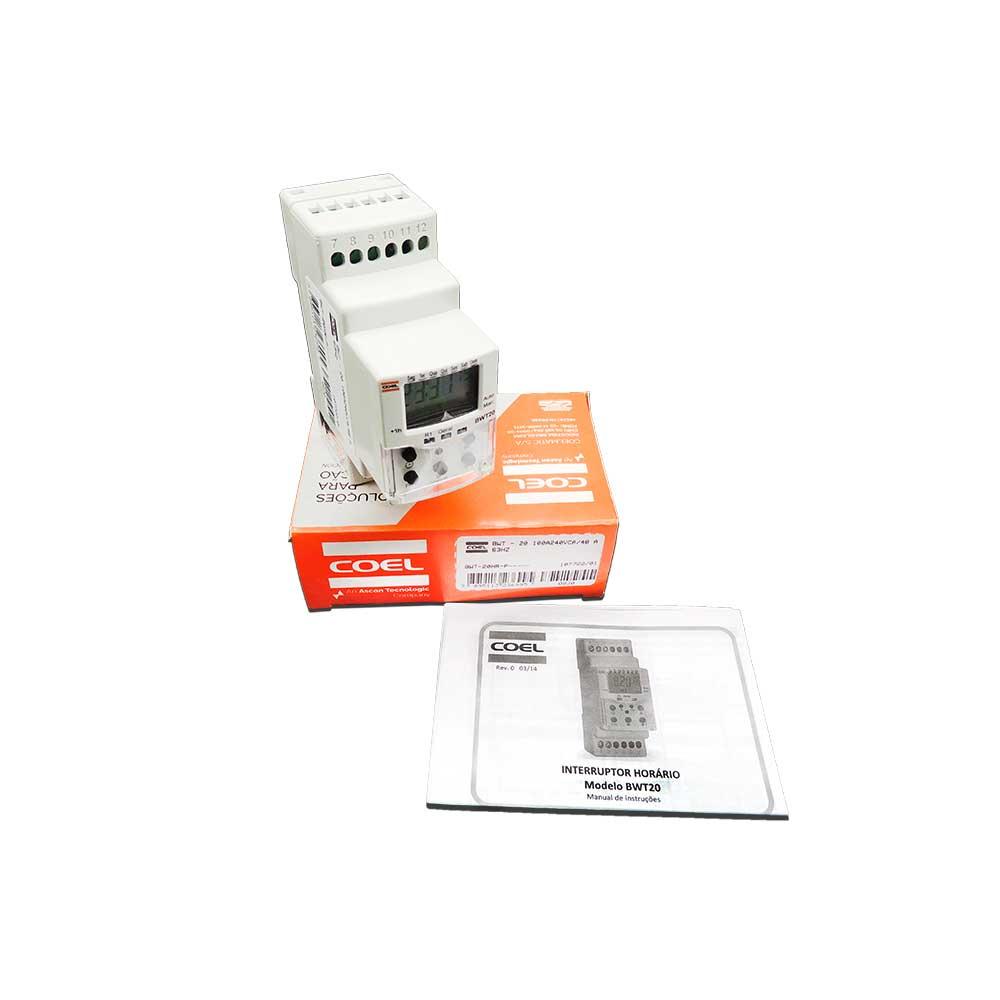 Programador interruptor Horário BWT20HR 100A240VCA/48 A 63HZ BWT-20HR P