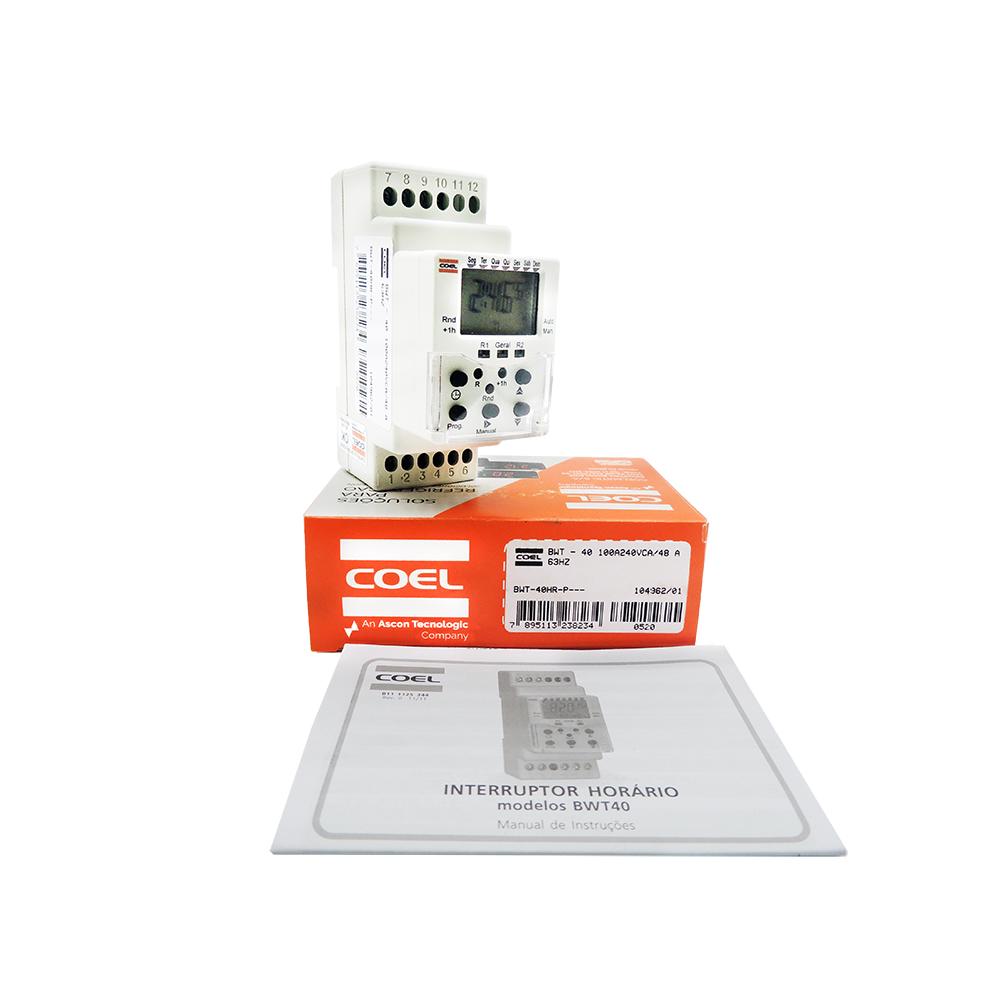 Programador interruptor Horario BWT40HR 100A240VCA/48 A 63HZ Coel