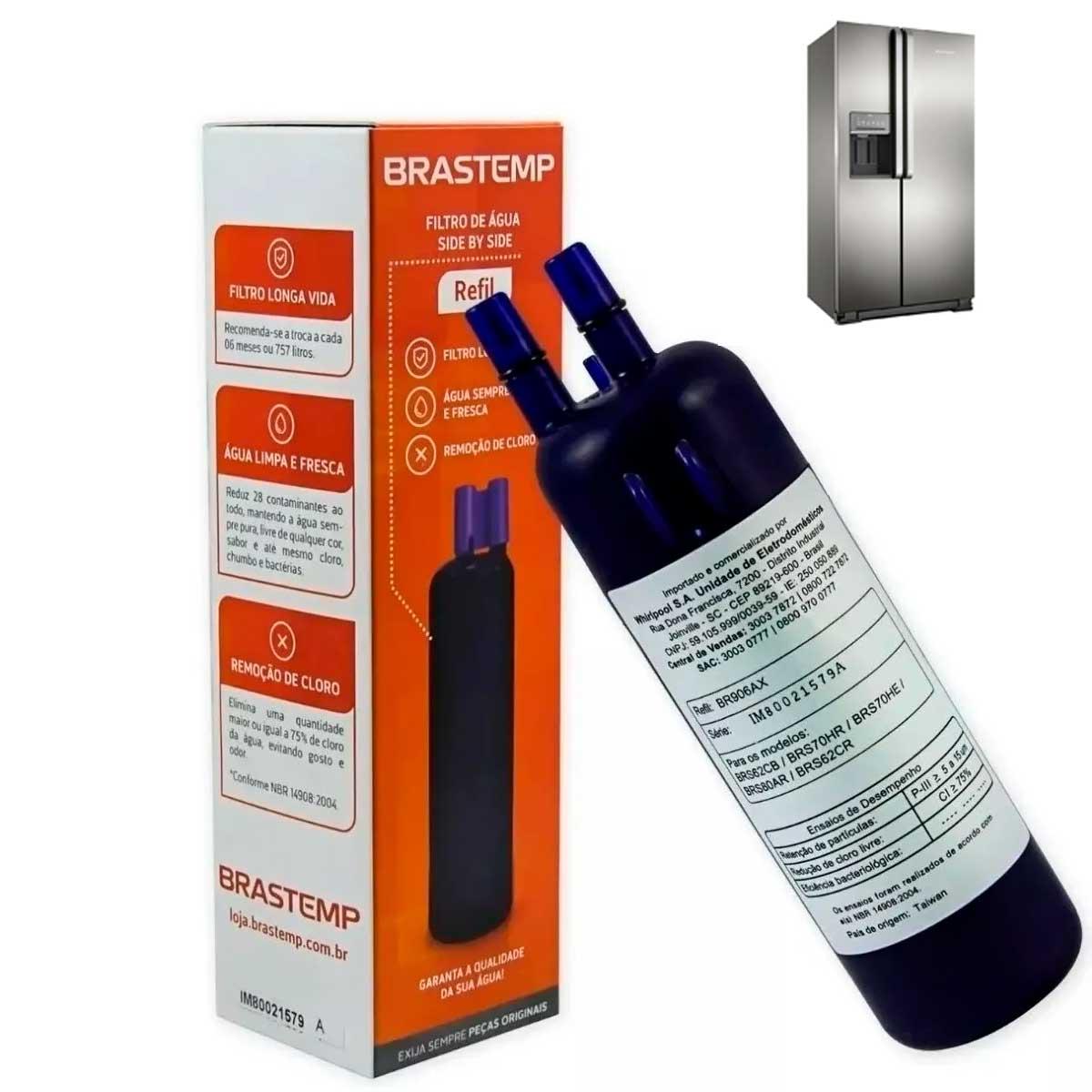 Refil  Filtro De Agua Brastemp Side By Side (br906ax) - W10510889 - Brs62c