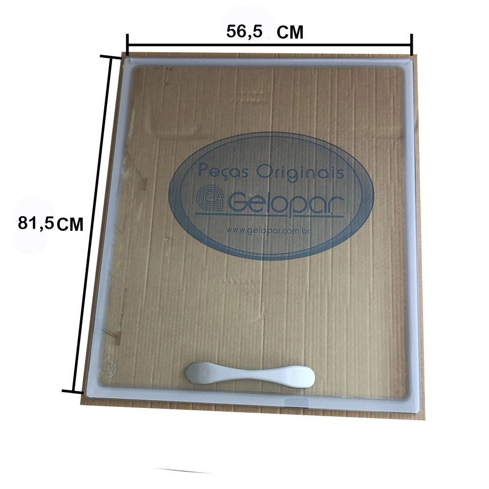 Tampa de vidro Gelopar  freezer GHDE-510 mod. novo Inferior 81,5X56,5 450535.07