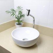 Cuba Banheiro Apoio Redonda 30x12cm com Torneira Bica Alta,  Válvula Click  Sifão e Flexível