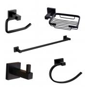 Kit de Acessórios Para Banheiro em Metal Quadrado Black Matte 5 Pecas